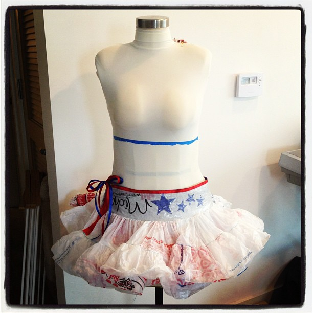 July 4th Grocery bag skirt
